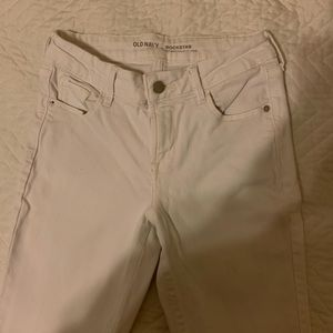 White Mid-Rise Old Navy Rockstar Jeans: Size 0